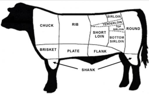 shank, rib, chuck, plate, flank, round, sirloin