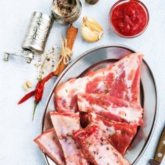 uncooked lamb or beef ribs with pepper garlic salt, raw ribs